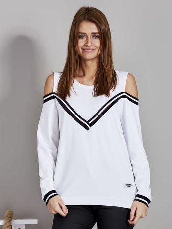 Biała bluza z ukośnymi ściągaczami