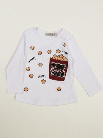 Biała bluzka dla dziewczynki z cekinami i perełkami