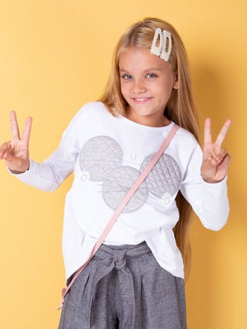 Biała bluzka dla dziewczynki z pikowaną wstawką