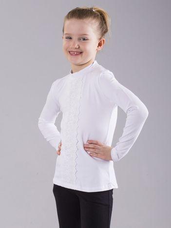Biała bluzka dziewczęca ze wstawką koronkową