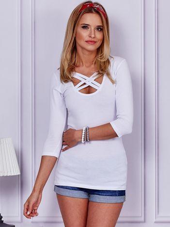 Biała bluzka lace up
