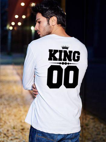 Biała bluzka męska z nadrukiem na plecach KING dla par