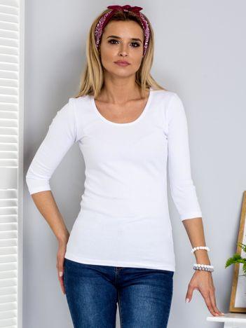 Biała bluzka w prążki ze sznurowaniem z tyłu