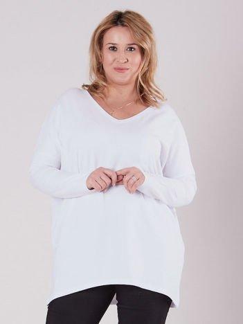 Biała bluzka z dekoltem w serek PLUS SIZE