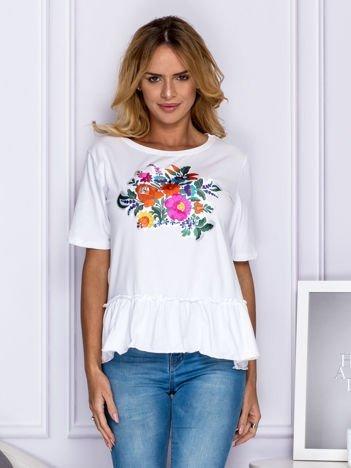 Biała bluzka z kolorowymi kwiatami