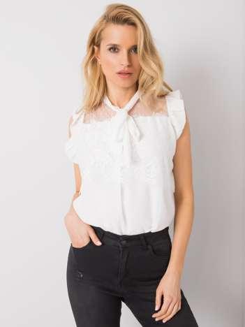 Biała bluzka z koronką Lanelle