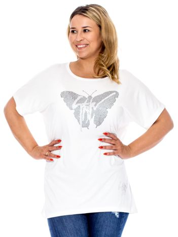 Biała bluzka z motylem z dżetów PLUS SIZE