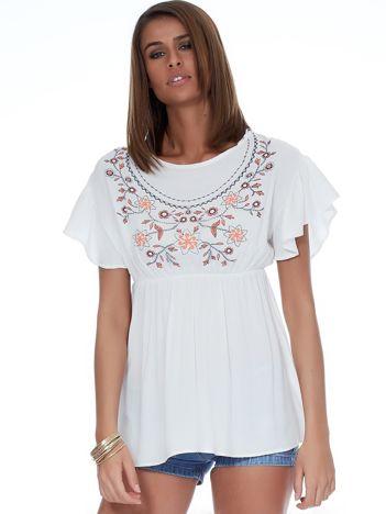 Biała bluzka z motywem kwiatowym