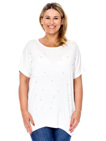 Biała bluzka z perełkami PLUS SIZE
