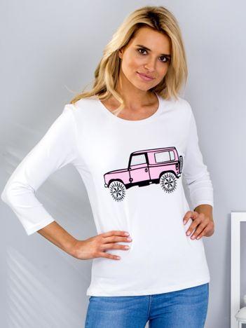 Biała bluzka z samochodem