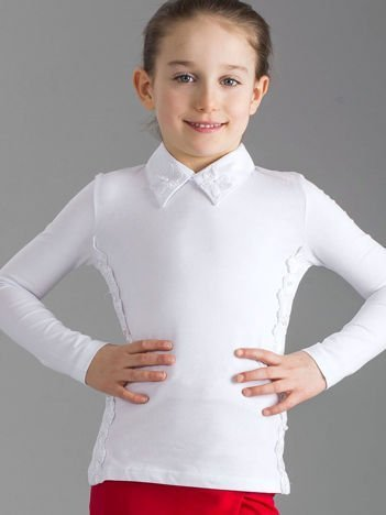 Biała elegancka bluzka dziewczęca z kołnierzykiem