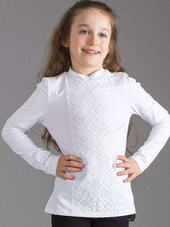 Biała elegancka bluzka z koronką dla dziewczynki