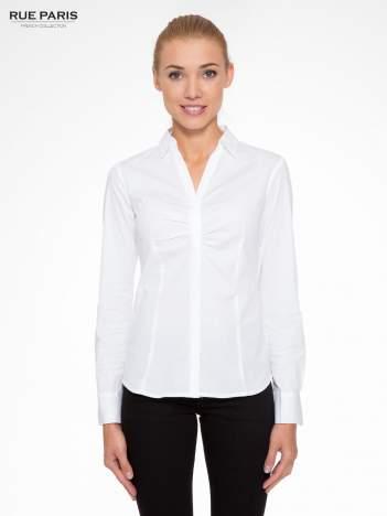 Biała elegancka koszula z marszczeniem przy dekolcie