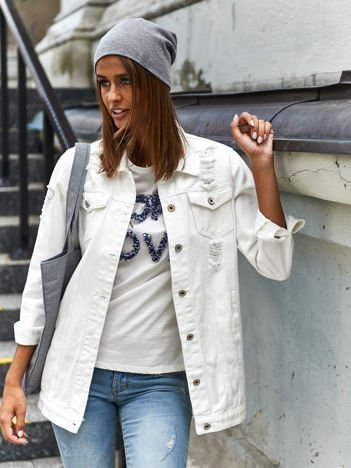 Biała jeansowa kurtka z rozdarciami