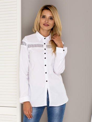 Biała koszula z aplikacją z dżetów