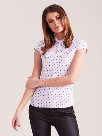 Biała koszula z krótkim rękawem w grochy