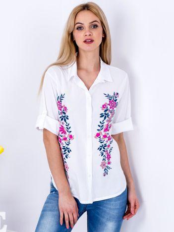 Biała koszula z motywem roślinnym