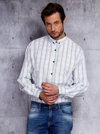 Biała kraciasta koszula męska