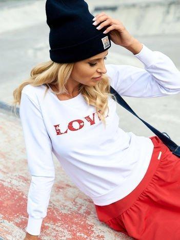 Biała lekka bluza z napisem LOVE