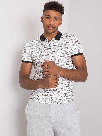Biała męska koszulka polo we wzory Joshua