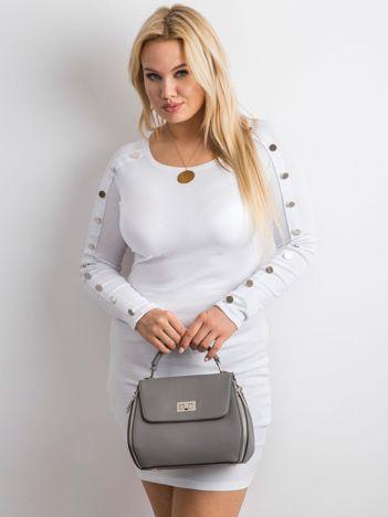 Biała prążkowana sukienka z guzikami