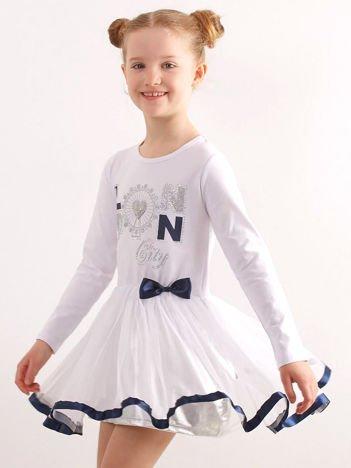 Biała sukienka dla dziewczynki z aplikacją