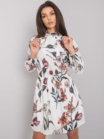 Biała sukienka z printami Akilah RUE PARIS