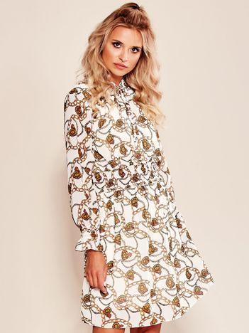 Biała sukienka z printem