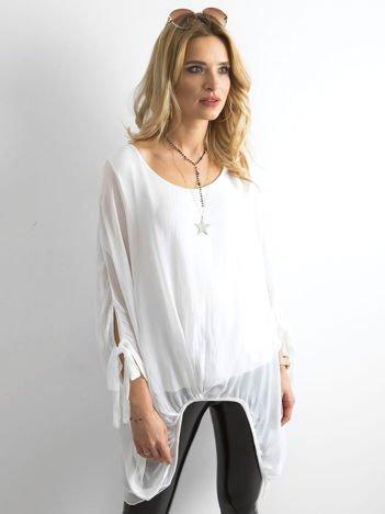 Biała szyfonowa tunika