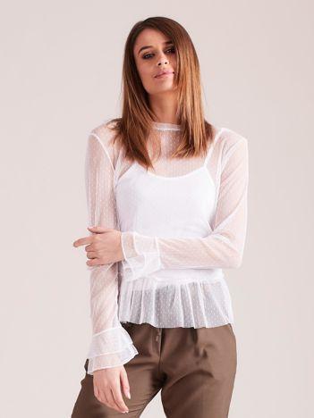 Biała warstwowa bluzka z falbanami