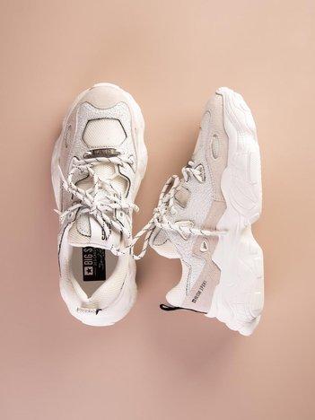 Białe buty sportowe BIG STAR ze skórzanymi wstawkami