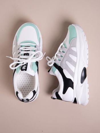Białe buty sportowe ze skórzanymi miętowymi wstawkami