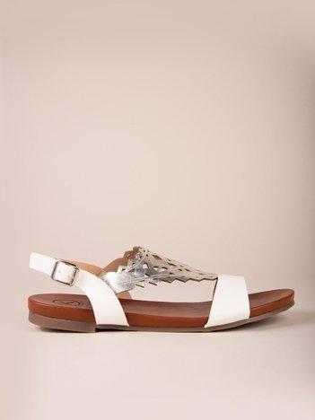 Białe sandały Kylie z błyszczącym ażurowym przodem