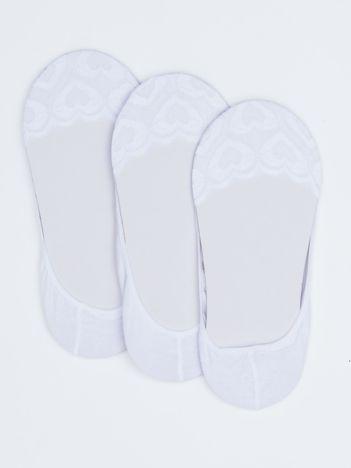 Białe skarpety stopki w serca 3-pak