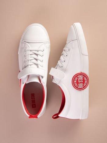Białe tenisówki BIG STAR na rzepy z czerwonymi wstawkami