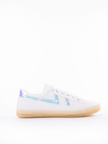 Białe tenisówki z eco skóry z holograficznymi wstawkami
