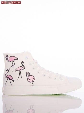 Białe trampki Big Star z wyższą cholewką i haftowanymi wzorami flamingów na boku cholewki