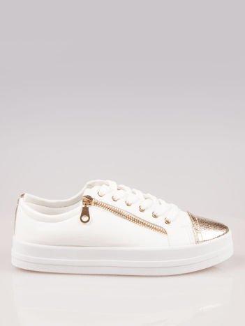 Białe trampki damskie gold cap toe z suwakiem z boku