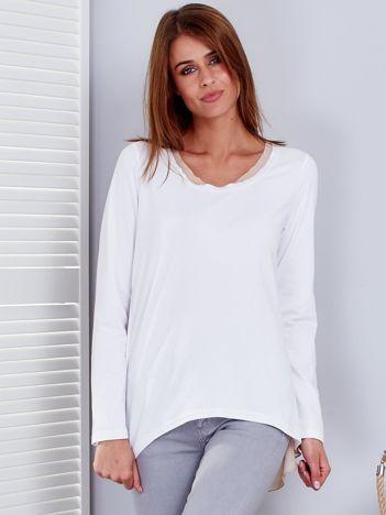 Biało-beżowa bluzka z tiulowym tyłem