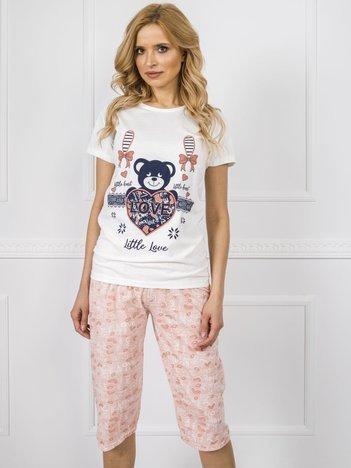 Biało-brzoskwiniowa piżama z nadrukiem