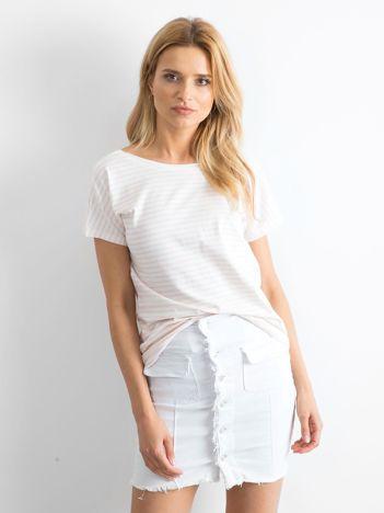 Biało-brzoskwiniowy t-shirt Morning