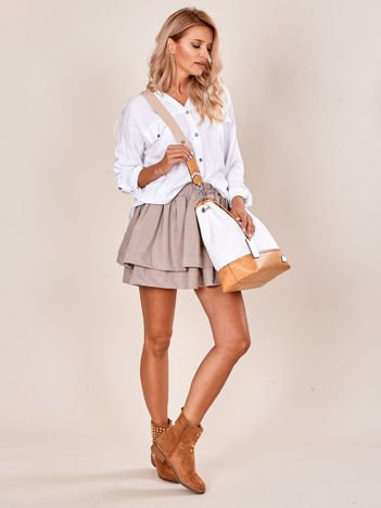 Biało-camelowa torba miejska z eko skóry