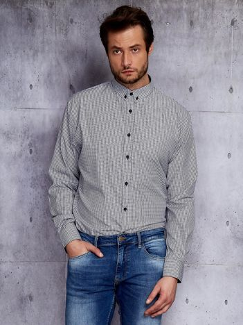 Biało-czarna kraciasta koszula męska PLUS SIZE