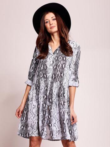 Biało-czarna wzorzysta sukienka na guziki