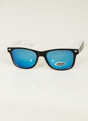Biało-czarne WAYFARERY Lustrzanki stylowe okulary dzieciece z filtrami UV