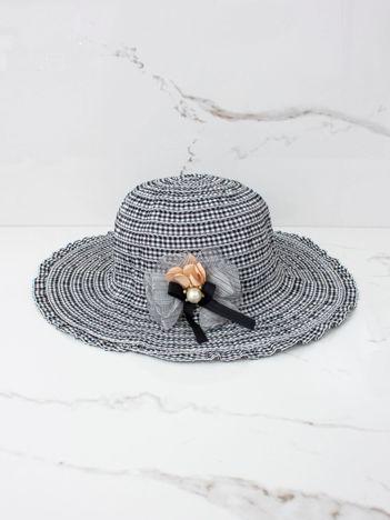 Biało-czarny kapelusz przeciwsłoneczny dziewczęcy