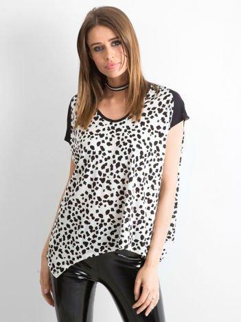 Biało-czarny panterkowy t-shirt