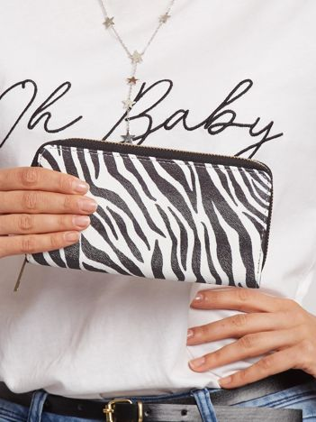 Biało-czarny portfel w zebrę