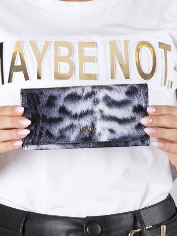 Biało-czarny skórzany portfel ze wzorem zwierzęcym