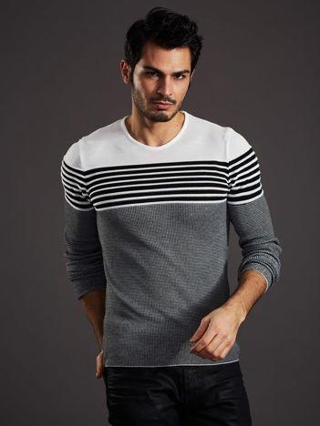 Biało-czarny sweter męski w poziome paski